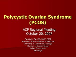 Polycystic Ovarian Syndrome PCOS