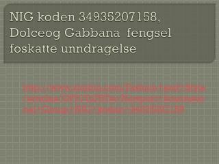 Newport International Group NIG koden 34935207158,Dolce og G