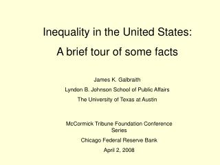Inequality in the United States:   A brief tour of some facts