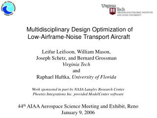 Multidisciplinary Design Optimization of  Low-Airframe-Noise Transport Aircraft