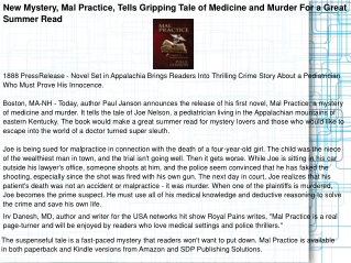 New Mystery, Mal Practice, Tells Gripping Tale of Medicine a