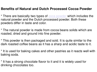 Benefits of Natural and Dutch Processed Cocoa Powder