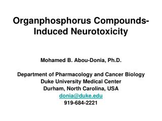 Organphosphorus Compounds-Induced Neurotoxicity