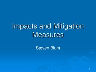 Impacts and Mitigation Measures