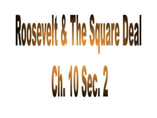 Roosevelt  The Square Deal  Ch. 10 Sec. 2