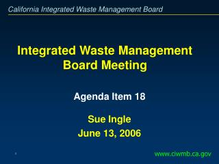 Integrated Waste Management Board Meeting