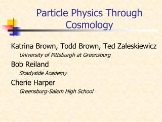 Particle Physics Through Cosmology