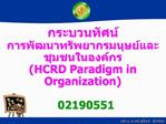 HCRD Paradigm in Organization    02190551    ....