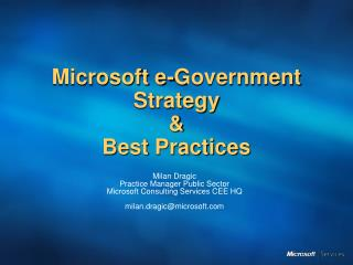 Microsoft e-Government Strategy  Best Practices