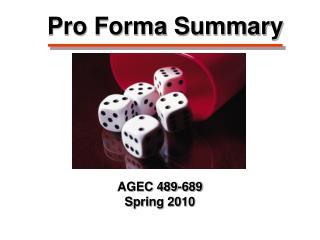 Pro Forma Summary