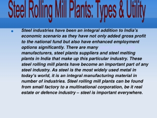 Steel Rolling Mill Plants: Types