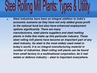 Steel Rolling Mill Plants: Types