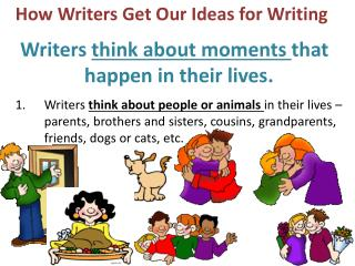 How Writers Get Our Ideas for Writing   Writers think about moments that               happen in their lives.   Writers
