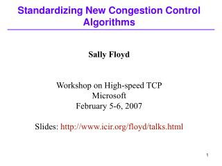 Standardizing New Congestion Control Algorithms