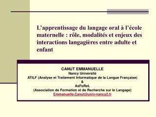 L apprentissage du langage oral   l  cole maternelle : r le, modalit s et enjeux des interactions langagi res entre adul