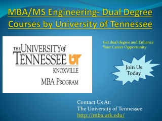 MBA/MS Engineering- Dual Degree Courses by University of Ten