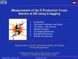 Introduction Top Quark Production and Decay The lepton  jets Channel Method Overview Jet Tagging Efficiencies Background