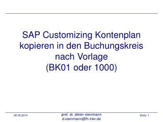 SAP Customizing Kontenplan kopieren in den Buchungskreis nach Vorlage BK01 oder 1000