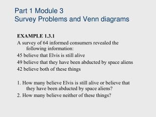 Part 1 Module 3 Survey Problems and Venn diagrams