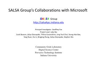 SALSA Group s Collaborations with Microsoft
