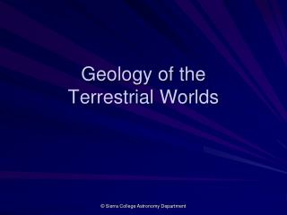Geology of the Terrestrial Worlds