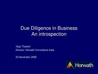 Due Diligence in Business An introspection