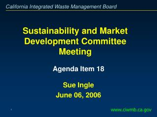 Sustainability and Market Development Committee Meeting