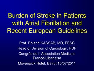 Burden of Stroke in Patients with Atrial Fibrillation and Recent European Guidelines