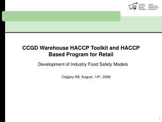 CCGD Warehouse HACCP Toolkit and HACCP Based Program for Retail