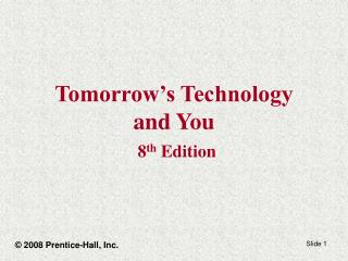 Tomorrow s Technology and You  8th Edition