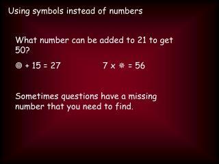 Using symbols instead of numbers