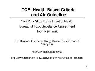 TCE: Health-Based Criteria  and Air Guideline