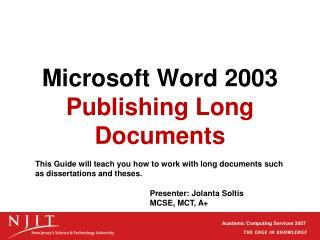 Microsoft Word 2003 Publishing Long Documents