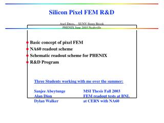 Silicon Pixel FEM RD