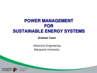 POWER MANAGEMENT  FOR  SUSTAINABLE ENERGY SYSTEMS