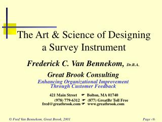 The Art  Science of Designing a Survey Instrument