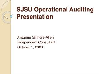 SJSU Operational Auditing Presentation