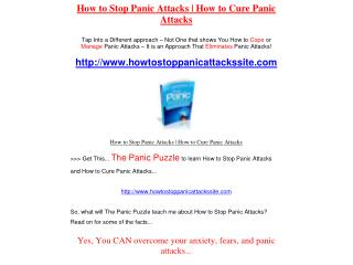 How to Stop Panic Attacks | How to Cure Panic Attacks