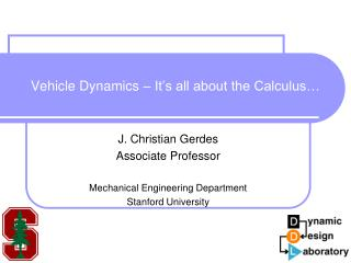 Vehicle Dynamics   It s all about the Calculus