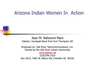 Arizona Indian Women In  Action