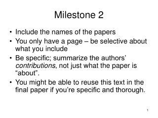 Milestone 2