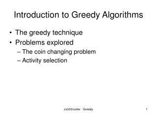 Introduction to Greedy Algorithms