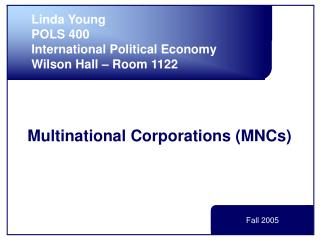 Multinational Corporations MNCs