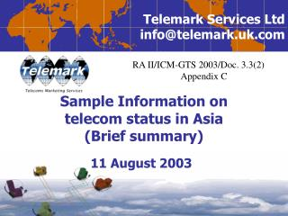 Sample Information on  telecom status in Asia Brief summary