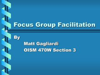 Focus Group Facilitation