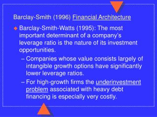 Barclay-Smith 1996 Financial Architecture