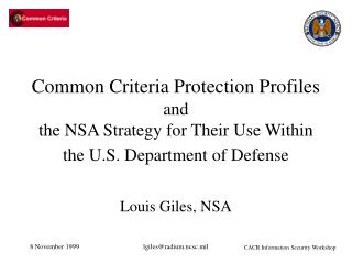 Common Criteria Protection Profiles and  the NSA Strategy for Their Use Within the U.S. Department of Defense