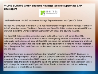 V-LINE EUROPE GmbH chooses Hovitaga tools to support its SAP