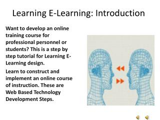Learning E-Learning: Introduction