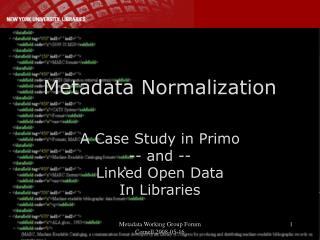 Metadata Normalization